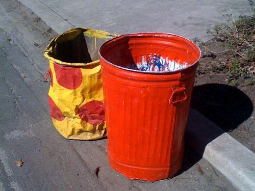 Orange Trash Can