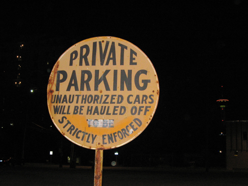Private Parking at night