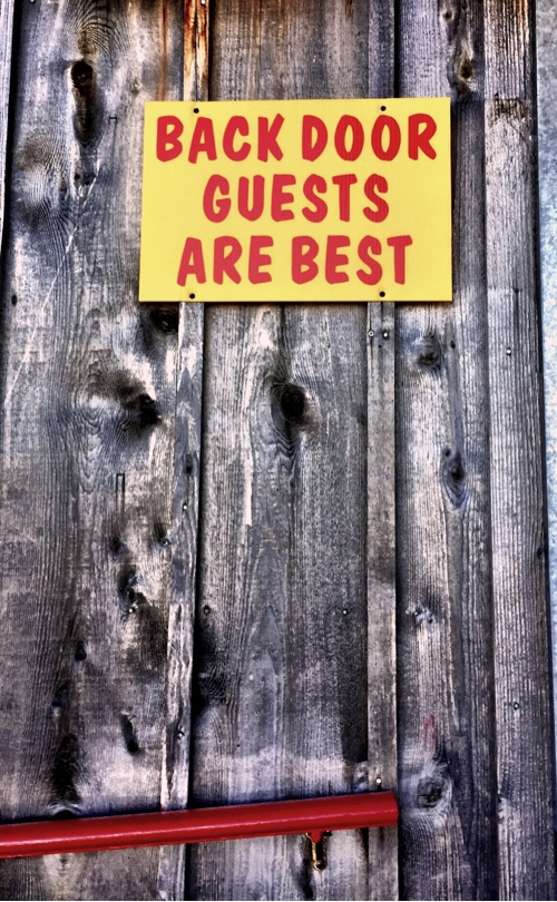 Back Door Sign