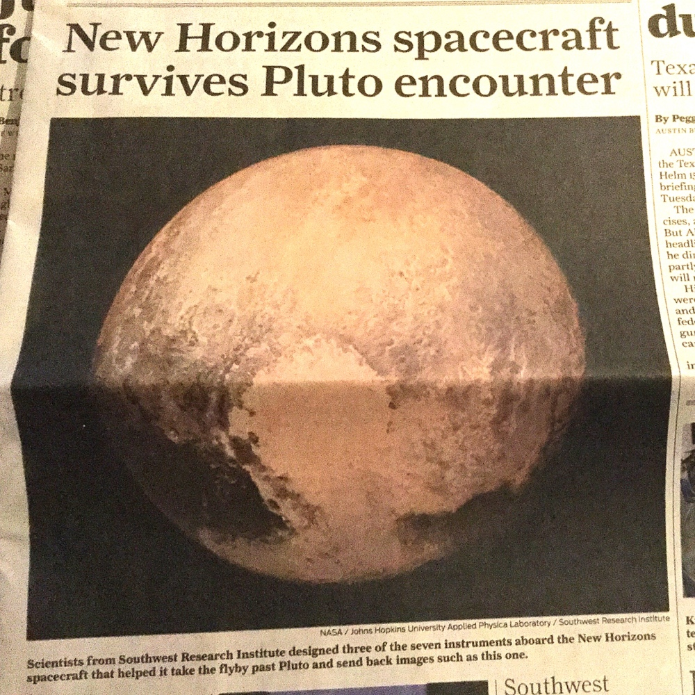 Pluto in Today's Paper
