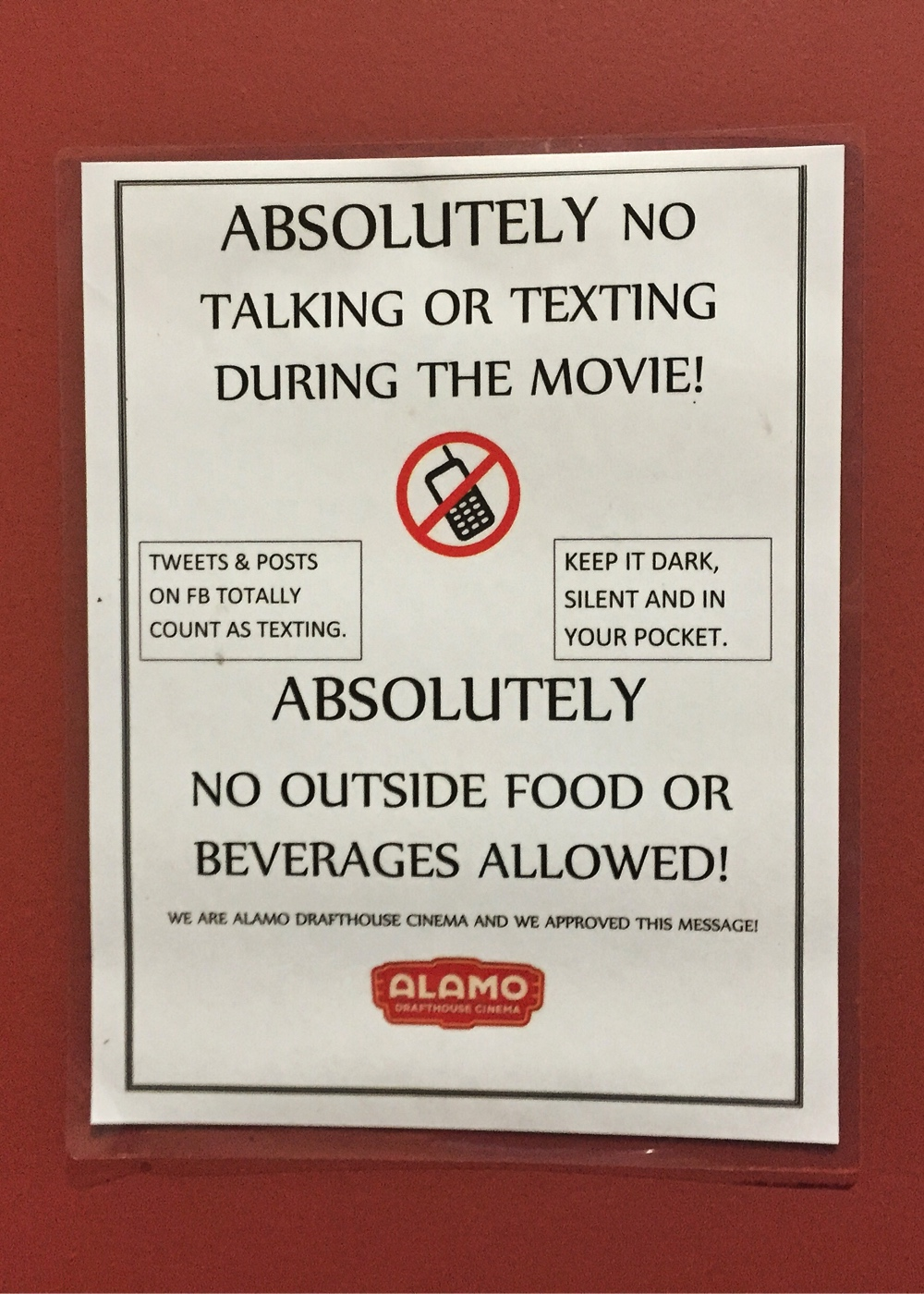 Alamo Drafthouse Warning