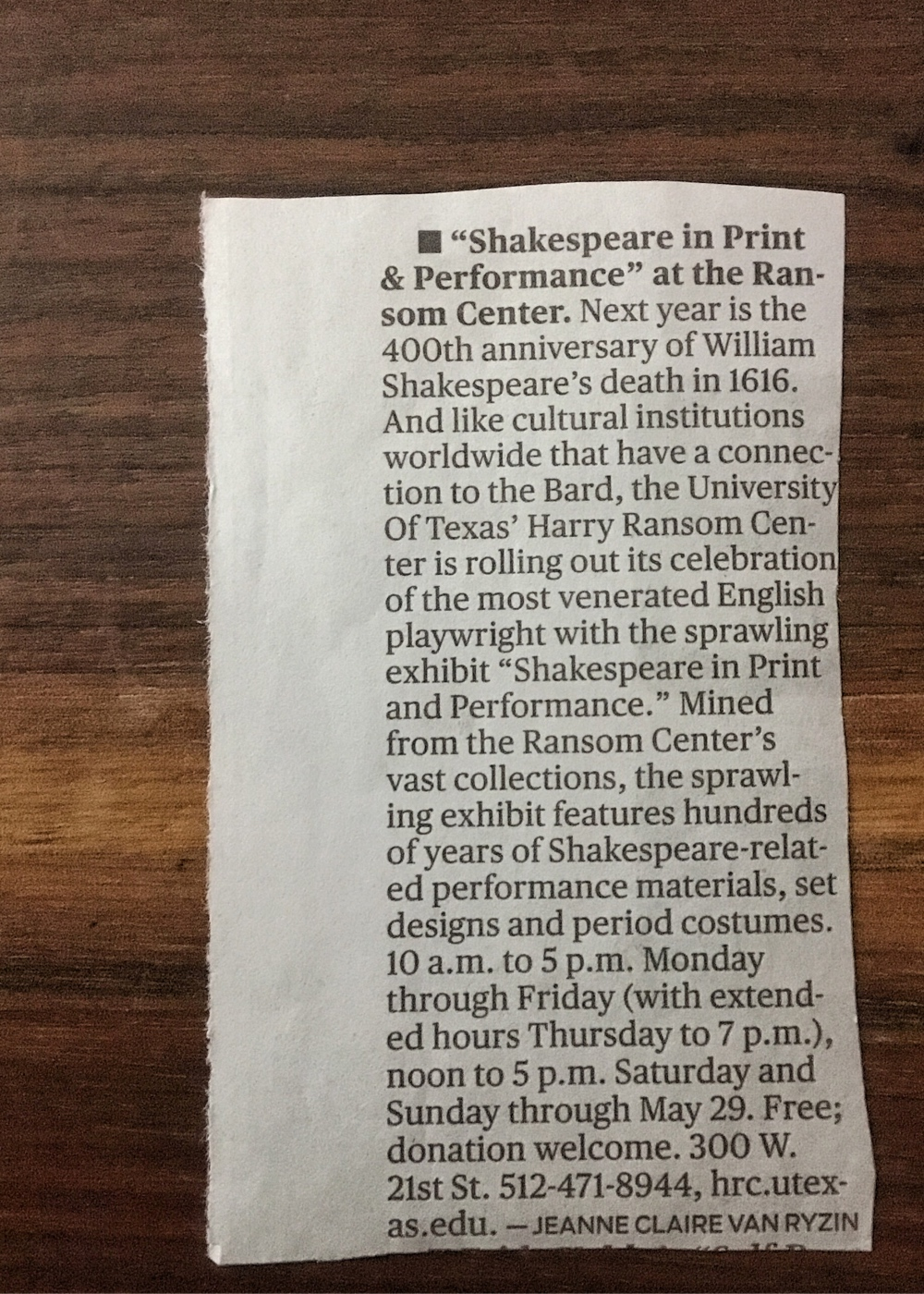 Shakespeare at UT